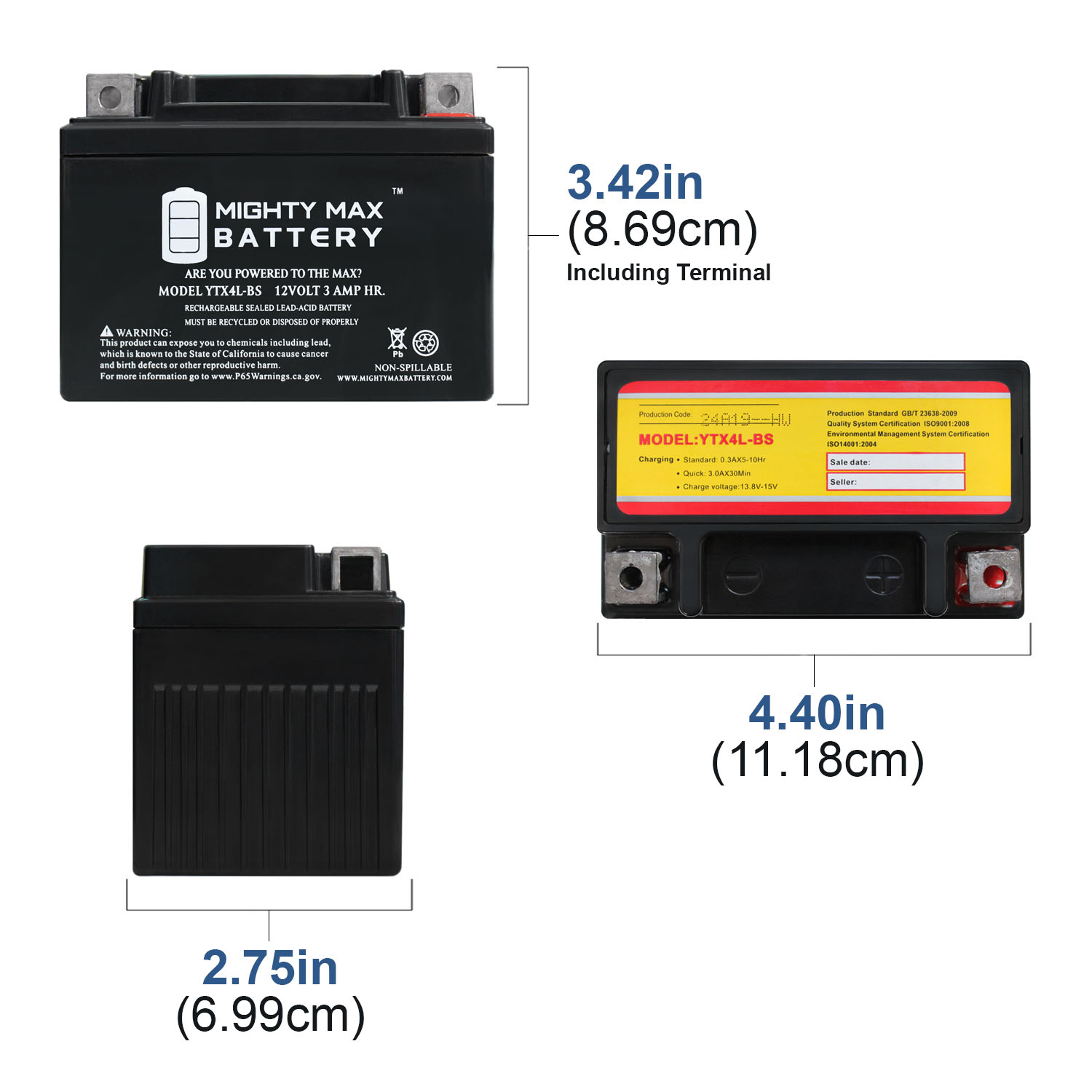 YTX4L-BS 12 VOLT 3AH MOTORCYCLE BATTERY REPLACES YTX4L-BS - 3 PACK - 1