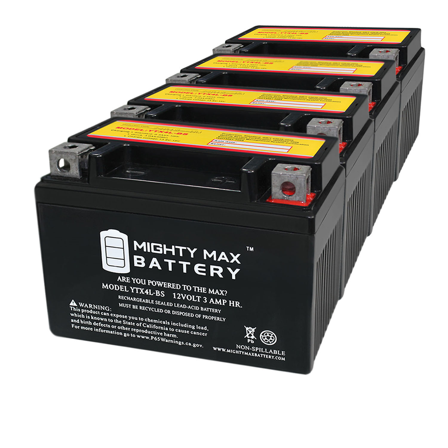 YTX4L-BS 12 VOLT 3AH MOTORCYCLE BATTERY REPLACES YTX4L-BS - 4 PACK