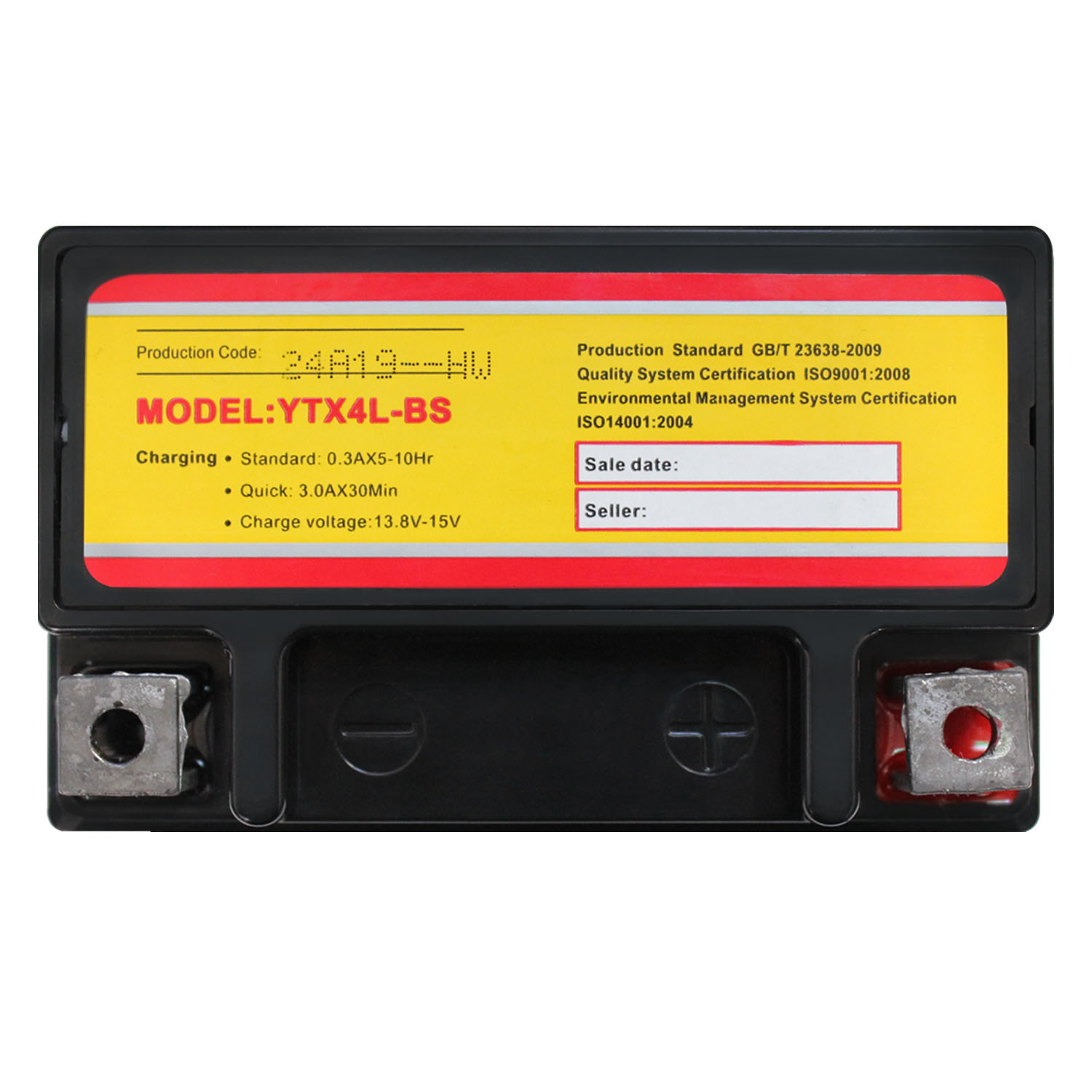 YTX4L-BS 12 VOLT 3AH MOTORCYCLE BATTERY REPLACES YTX4L-BS - 4 PACK - 4