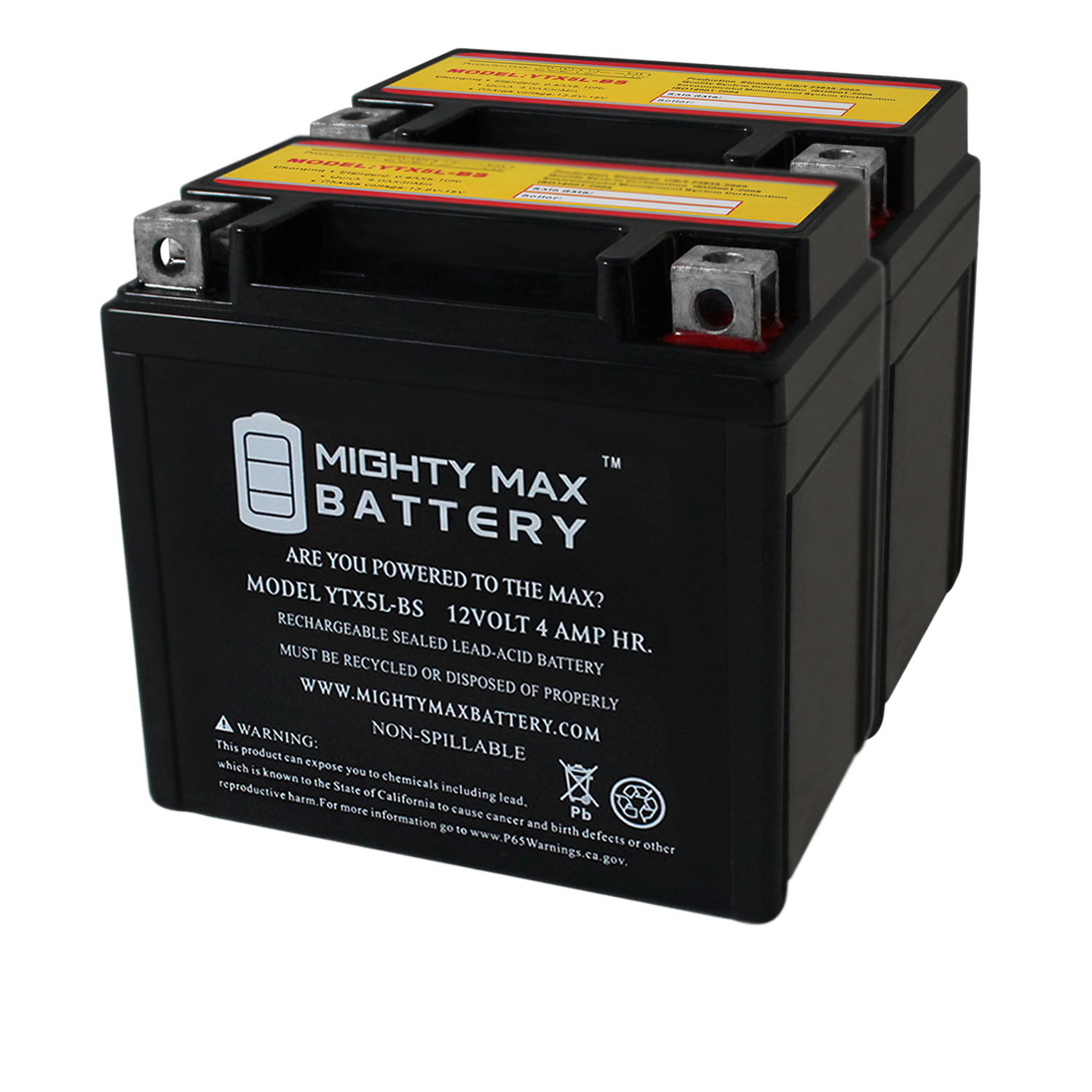 YTX5L-BS MOTORCYCLE BATTERY REPLACEMENT - 12V 4AH - 55 CCA - 2 PACK