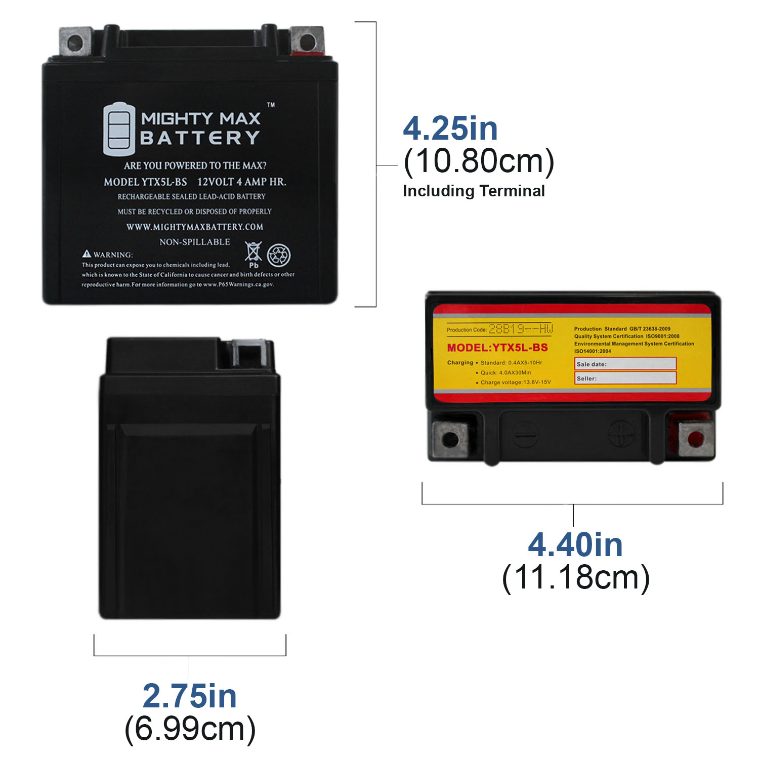 YTX5L-BS MOTORCYCLE BATTERY REPLACEMENT - 12V 4AH - 55 CCA - 3 PACK - 1