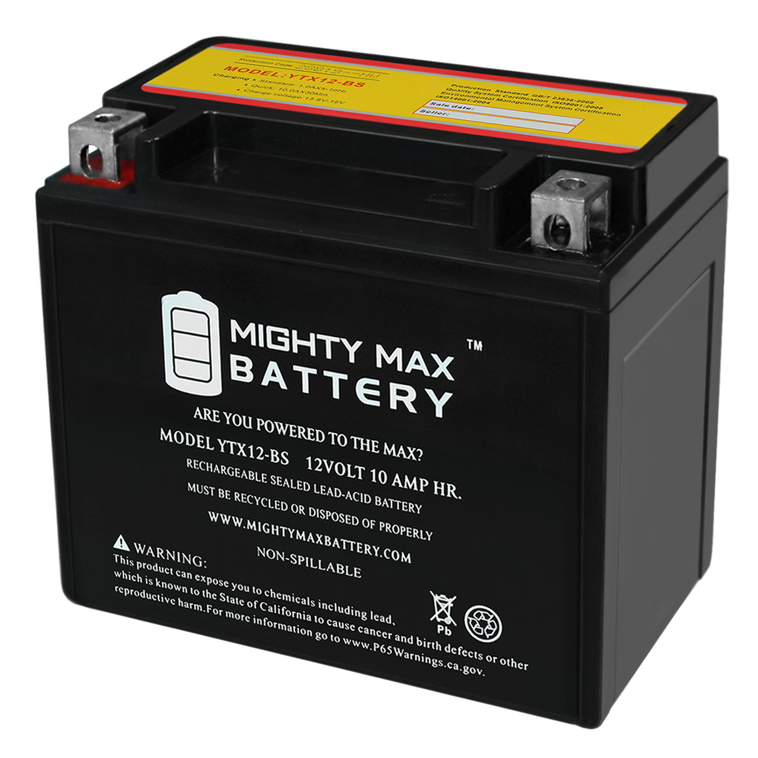 YTX12-BS 12V 10AH Battery for Powersport Sportbikes Cruisers SMF