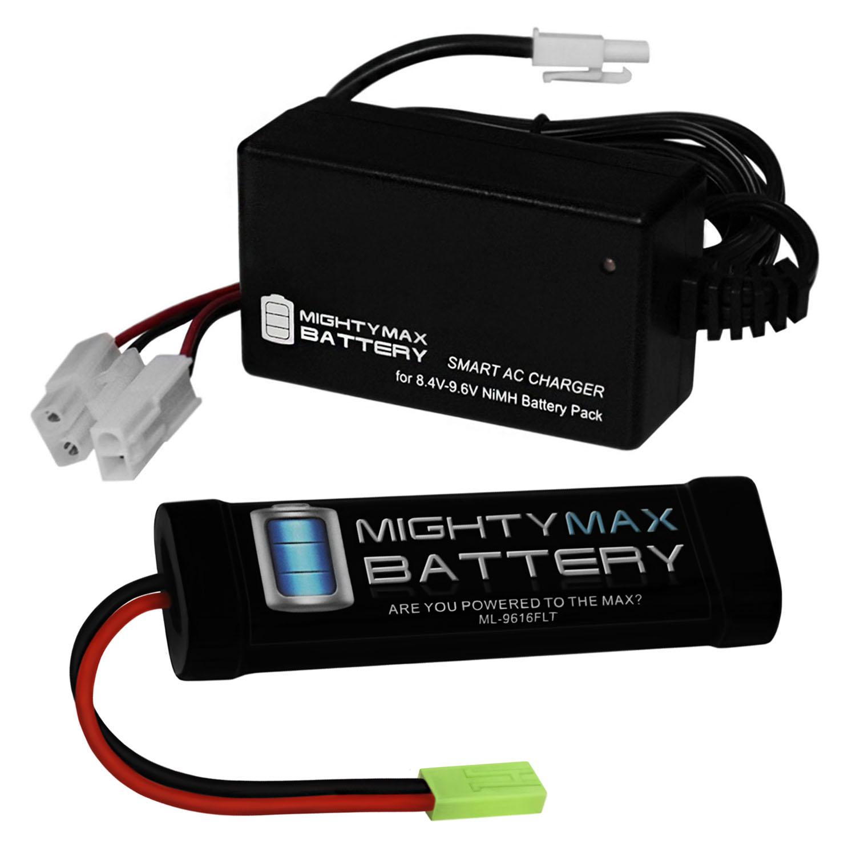 9.6V 1600mAh Flat Battery Pack + 9.6V Smart Charger