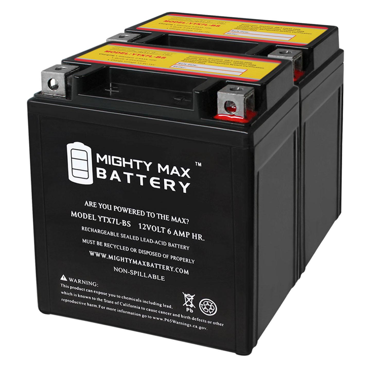 YTX7L-BS 12V 6AH Sealed AGM Battery for Motorcycle - 2 Pack