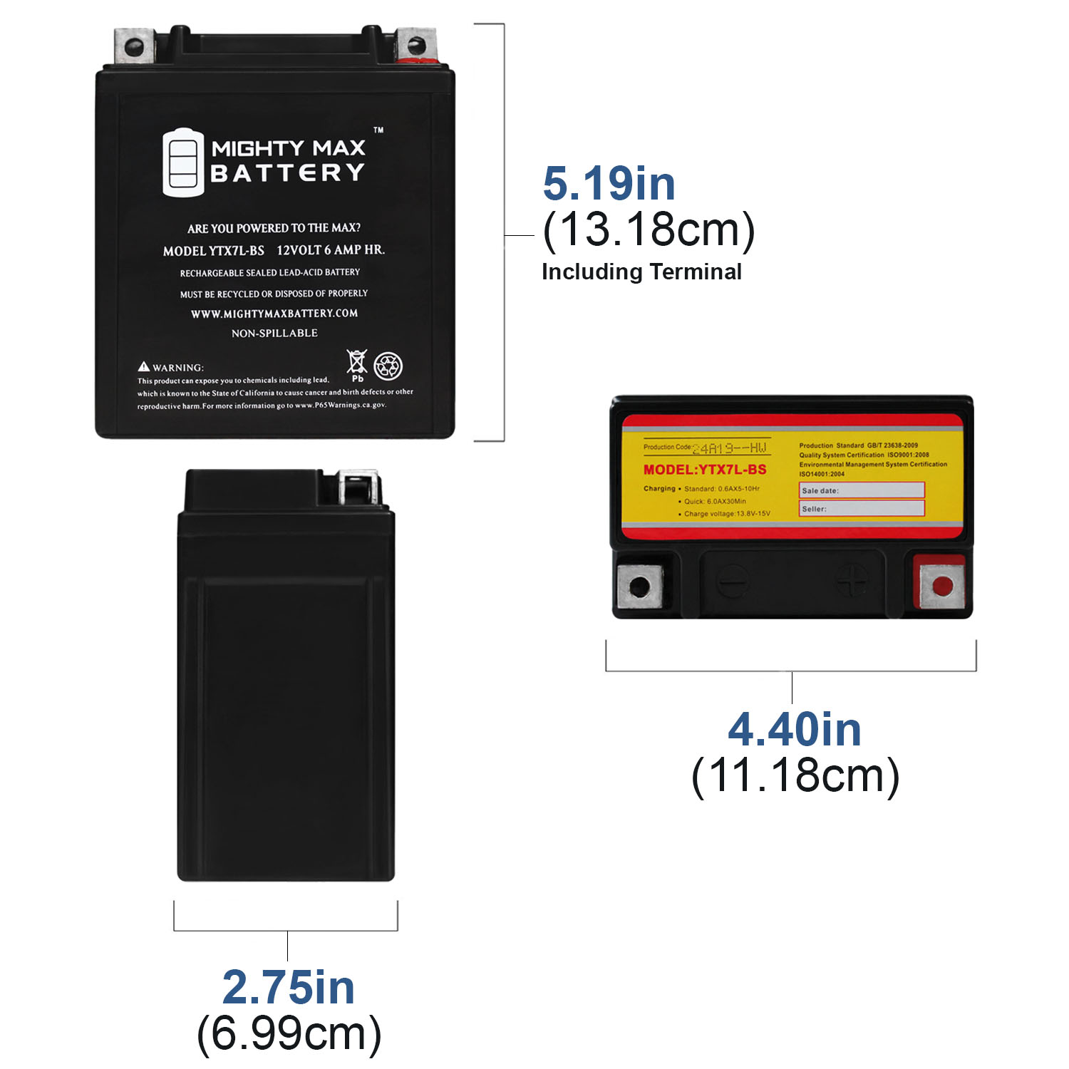 YTX7L-BS 12V 6AH Sealed AGM Battery For Motorcycles - 3 Pack - 1