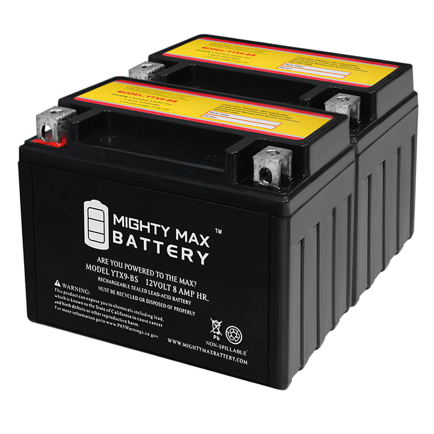 YTX9-BS 12V 8AH Replaces SLA For Power Sports Battery - 2 Pack