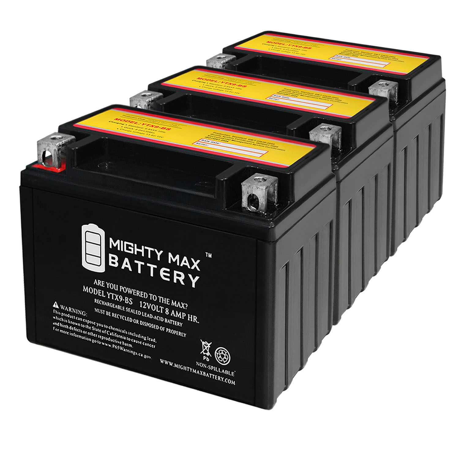 YTX9-BS 12V 8AH Replaces SLA For Power Sports Battery - 3 Pack
