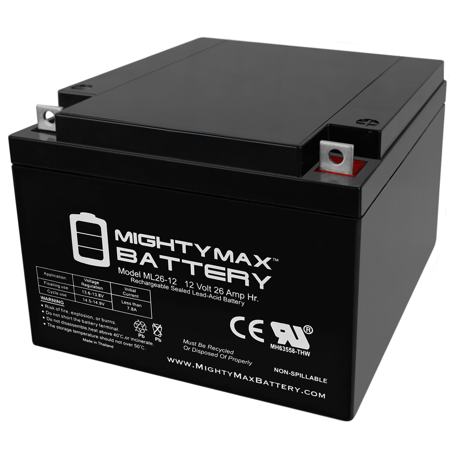 ML26-12 12V 26AH T3 Terminal - Sealed Lead Acid Battery
