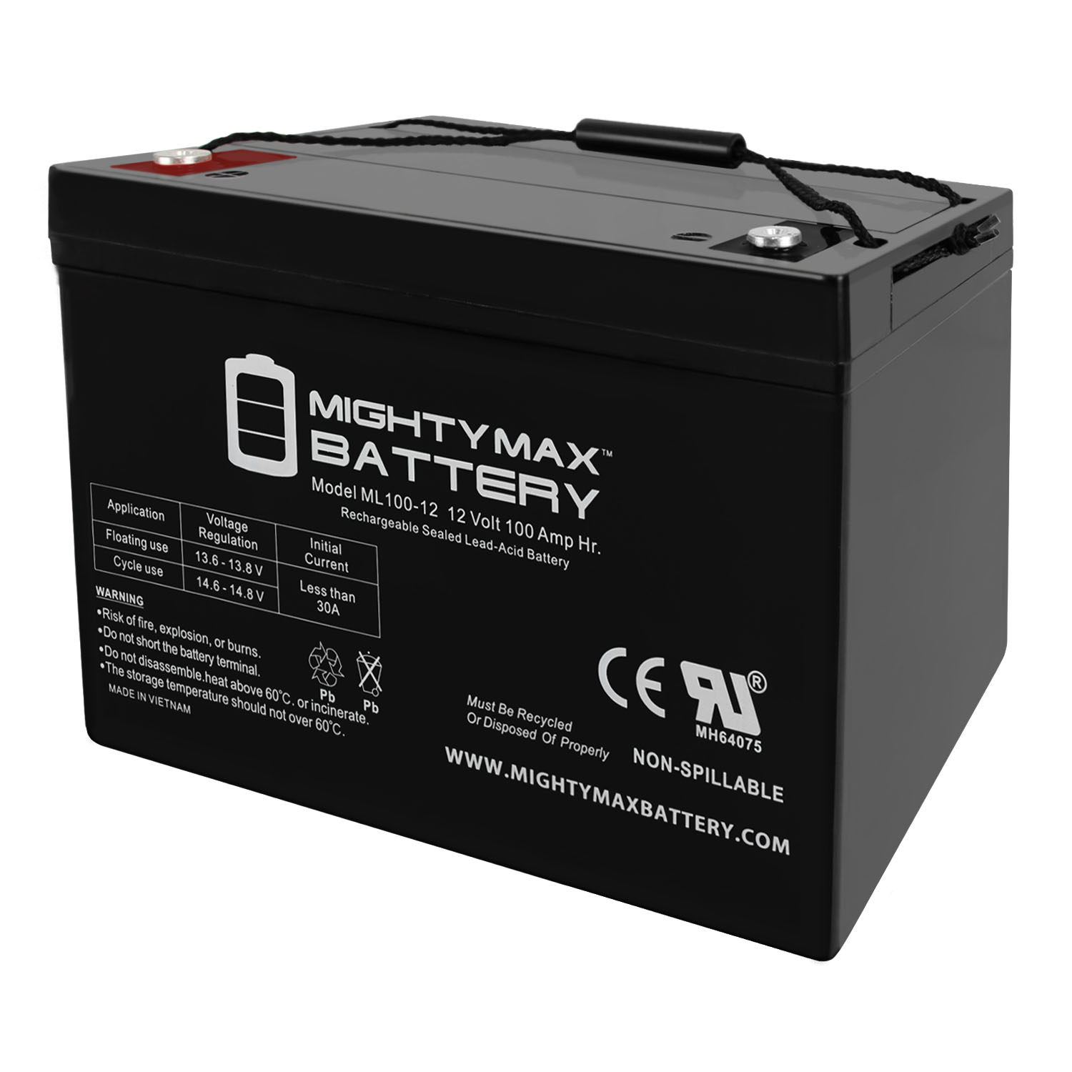 12V 100Ah SLA AGM Battery for Minn Kota Traxxis 55