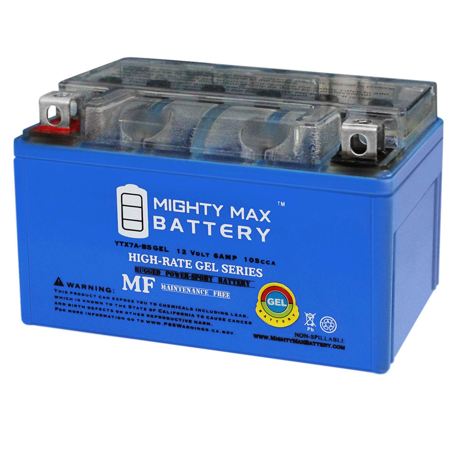 YTX7A-BS GEL Battery Replacement for SYM 50 Orbit 2008
