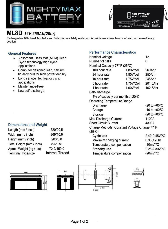 Sealed Lead-Acid Battery - AGM-type, 12V, 250 Amps - 4