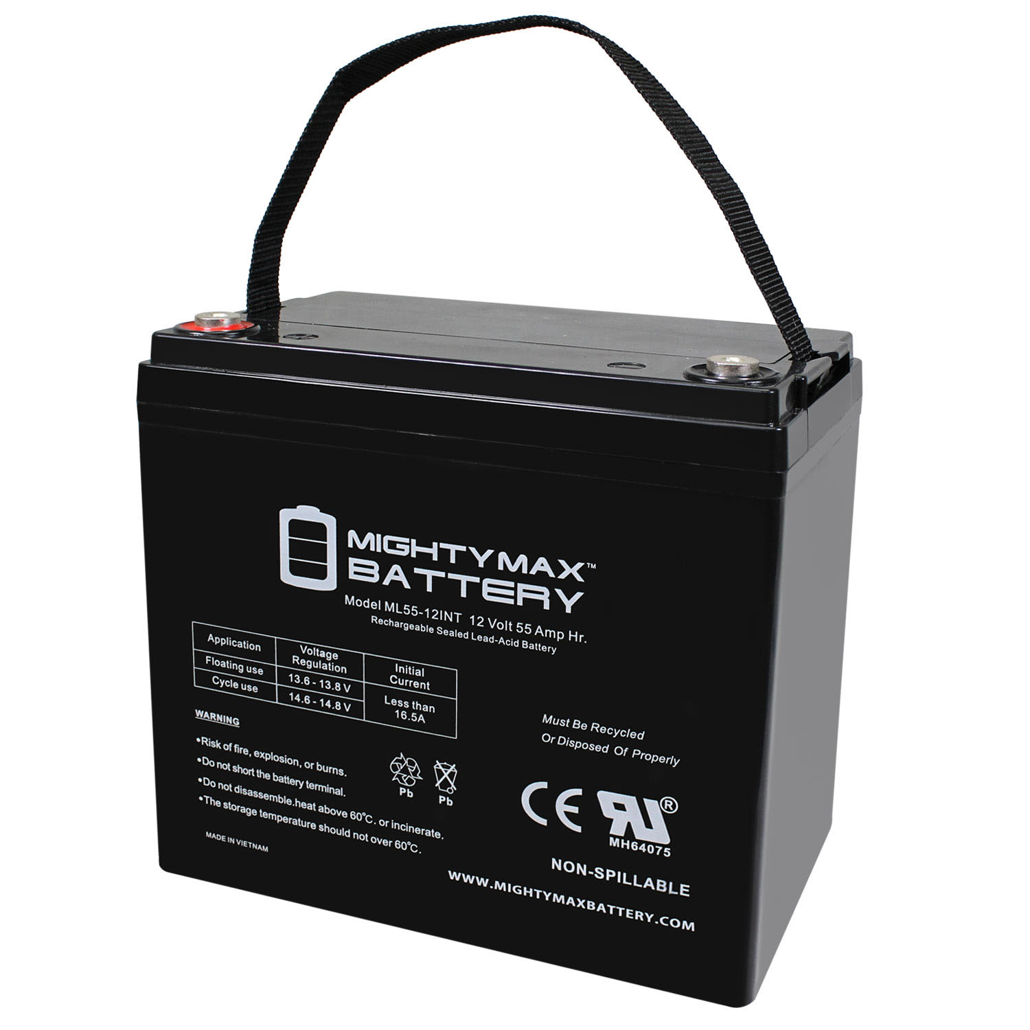12 Volt 55 AH SLA Internal Thread Battery