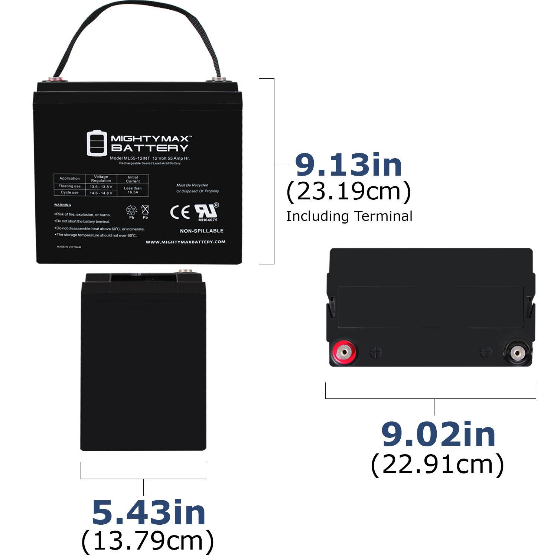 12 Volt 55 AH SLA Internal Thread Battery - 1