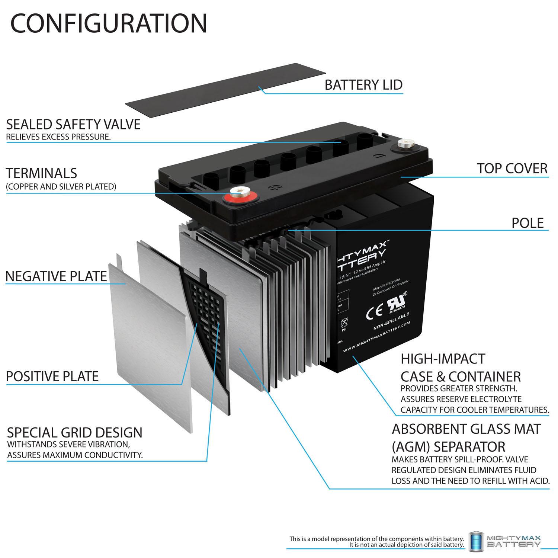 12 Volt 55 AH SLA Internal Thread Battery - 2