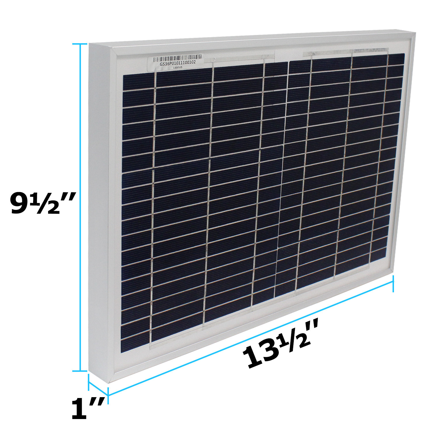 10 Watt polycrystalline solar panel with 6 foot alligator clips - 1