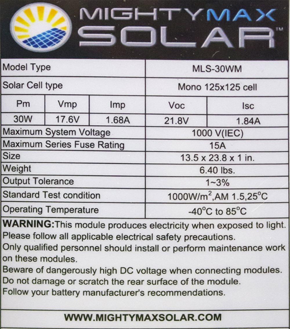 30 Watt Monocrystalline Solar Panel - 3