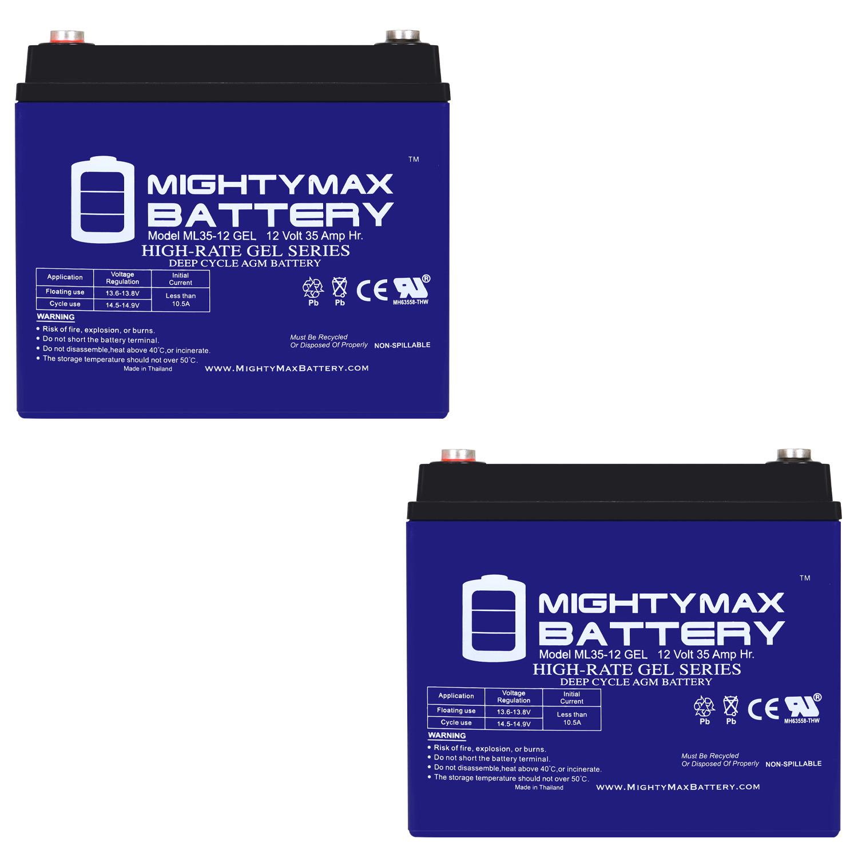12V 35AH GEL Battery for SOLAR ENERGY STORAGE - 2 Pack
