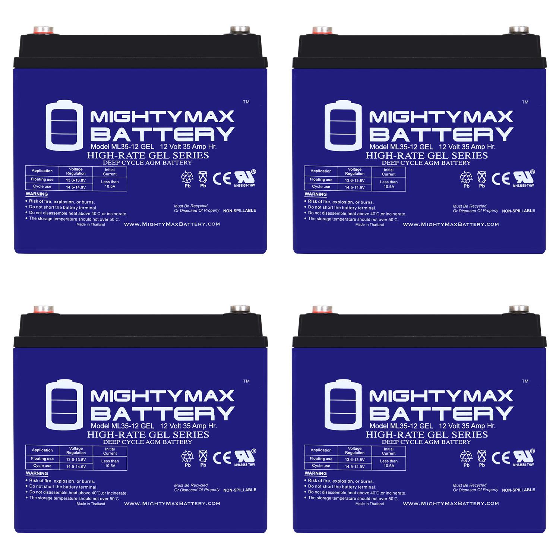 12V 35AH GEL Battery for SOLAR ENERGY STORAGE - 4 Pack