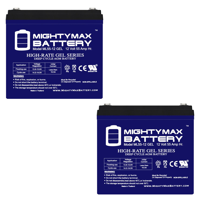 12 Volt  55 AH GEL Battery - 2 PACK