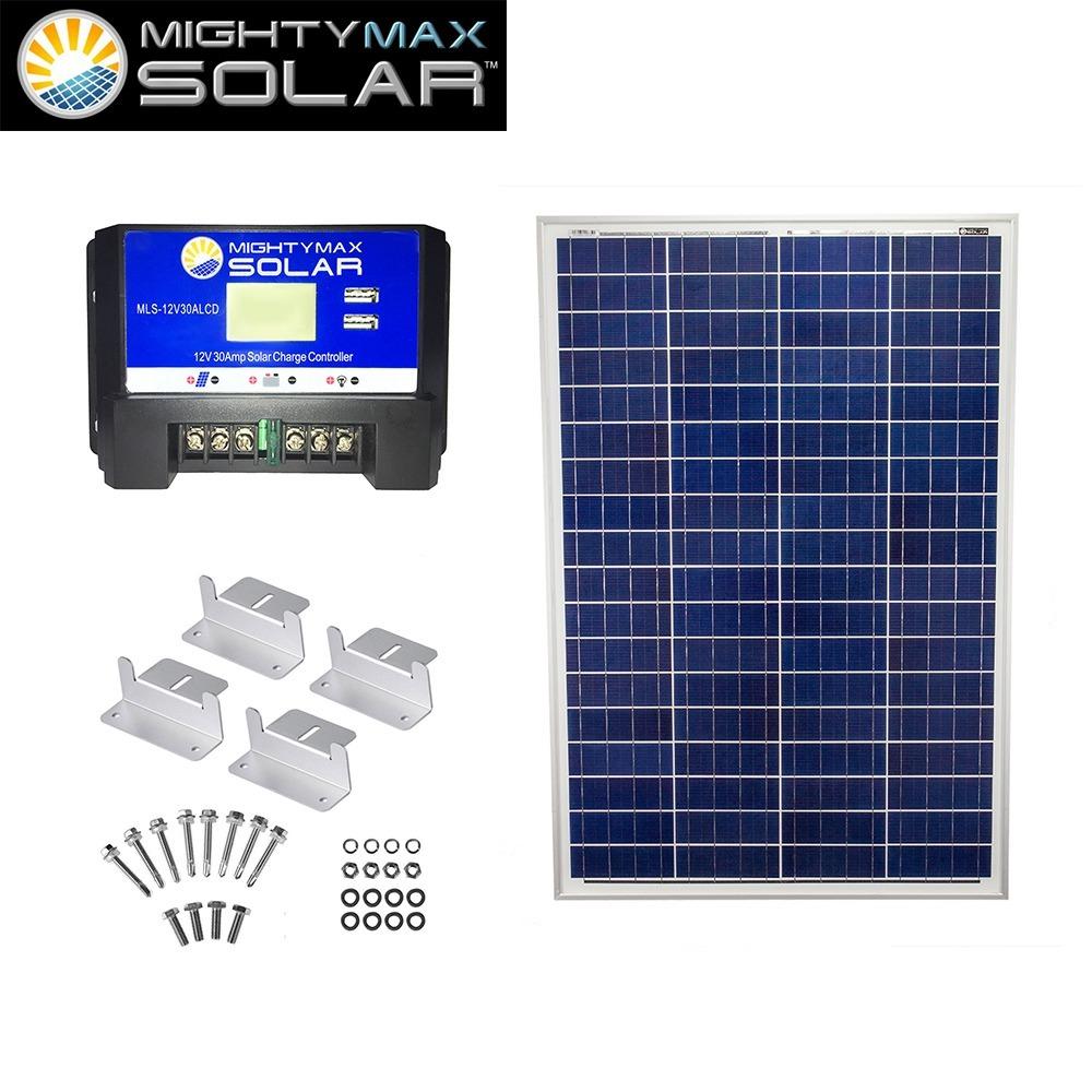 100W 12V Poly Solar Panel + 12V 30A Controller + Z-Bracket