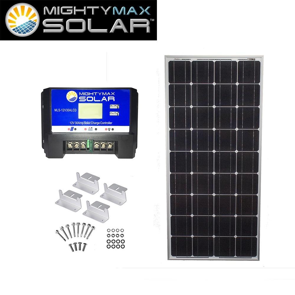 100W 12V Mono Solar Panel + 12V 30A Controller + Z-Bracket