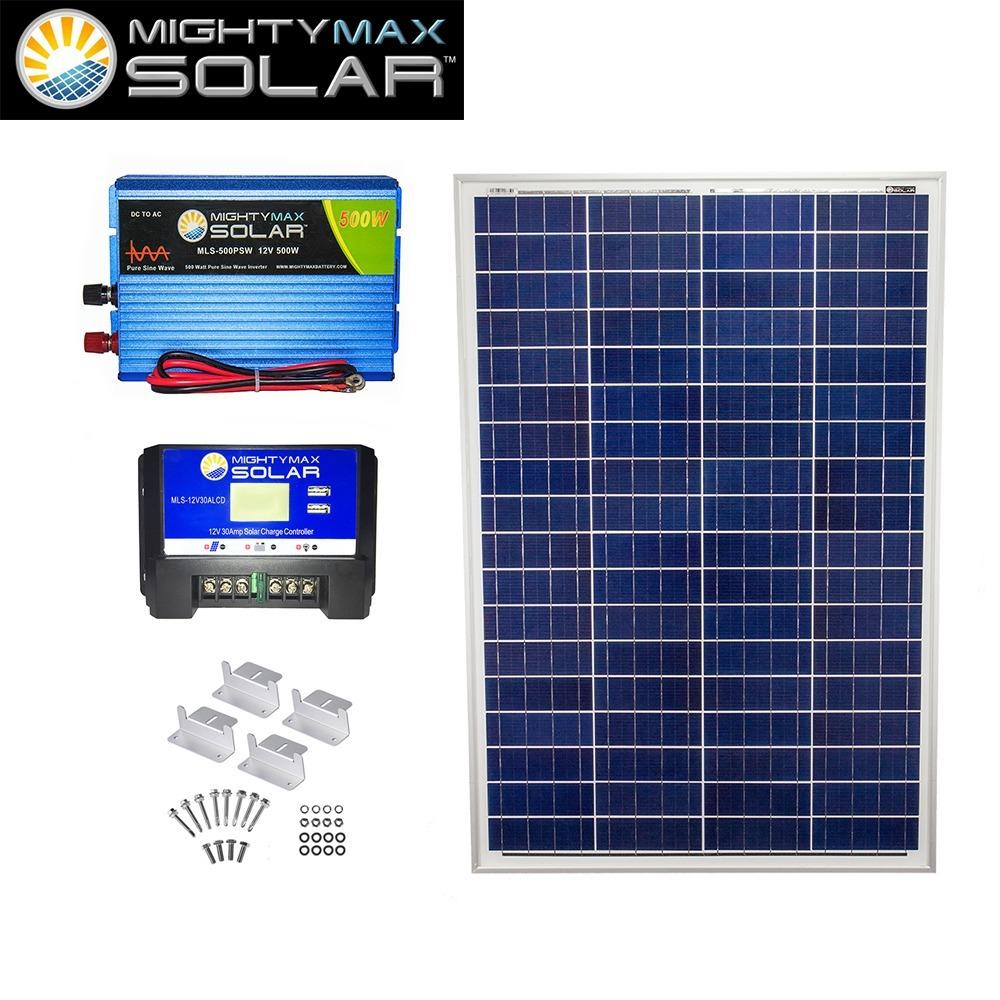 100W Poly Solar Panel + 12V 30A Controller + 500W PSW + Z-Bracket