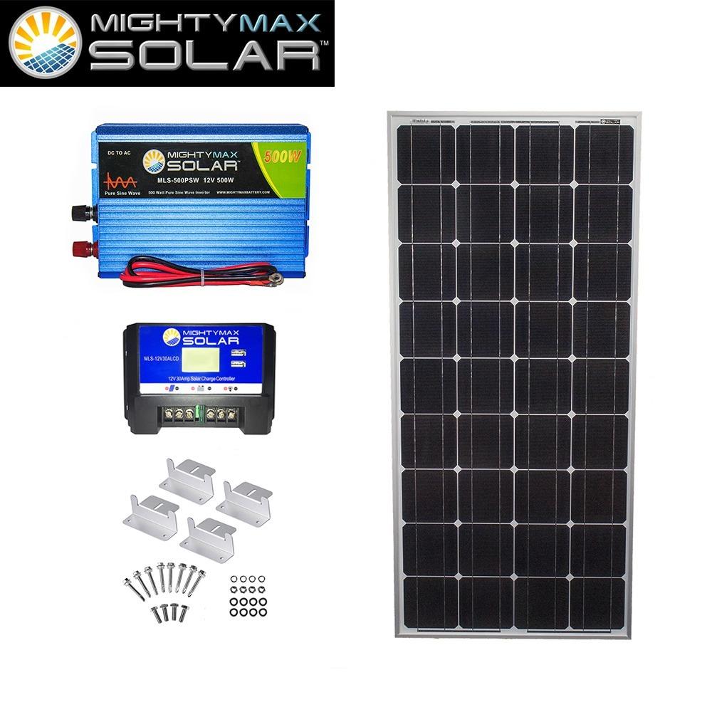 100W Mono Solar Panel + 12V 30A Controller + 500W PSW + Z-Bracket