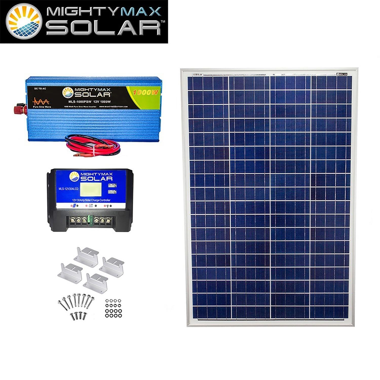 100W Poly Solar Panel + 12V 30A Controller + 1000W PSW + Z-Bracket