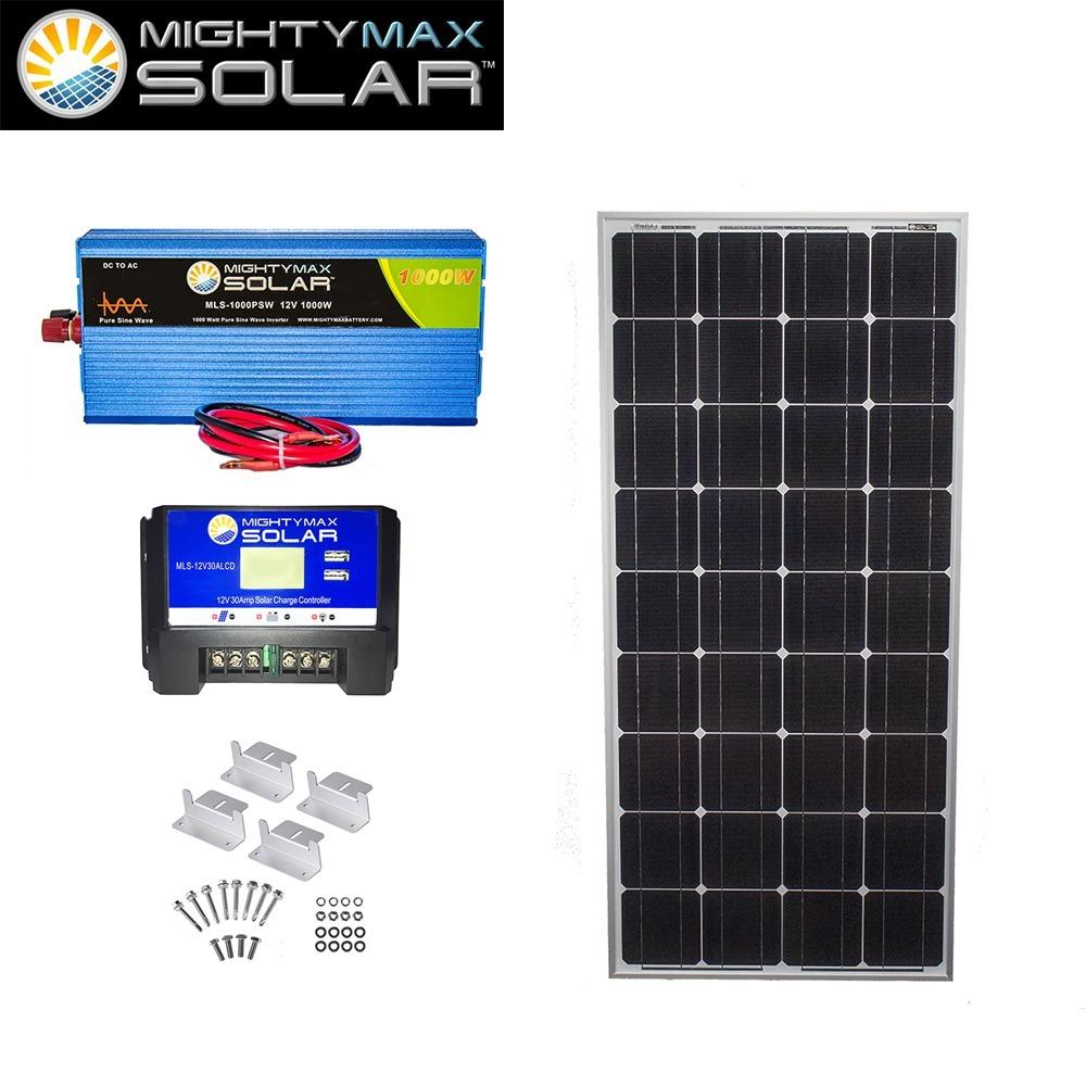 100W Mono Solar Panel + 12V 30A Controller + 1000W PSW + Z-Bracket