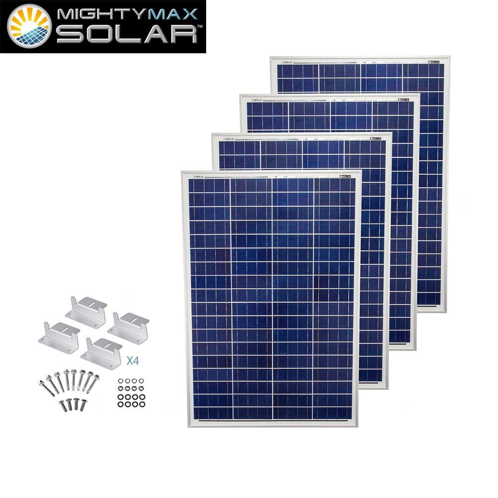 100 Watt 12 Volt Polycrystalline Solar Panel + Z-Brackets - 4 Pack