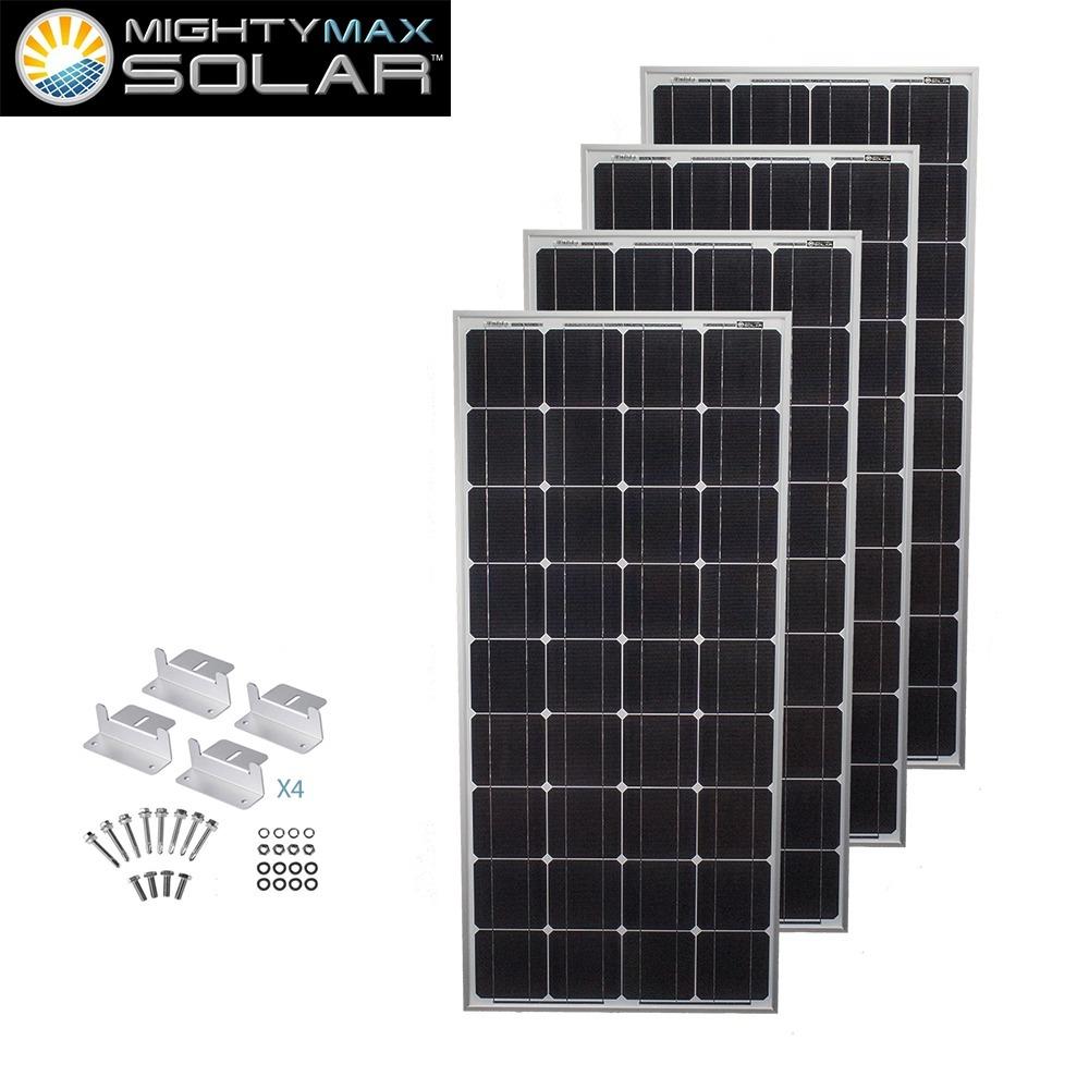 100 Watt Monocrystalline Solar Panel + Z-Brackets - 4 Pack