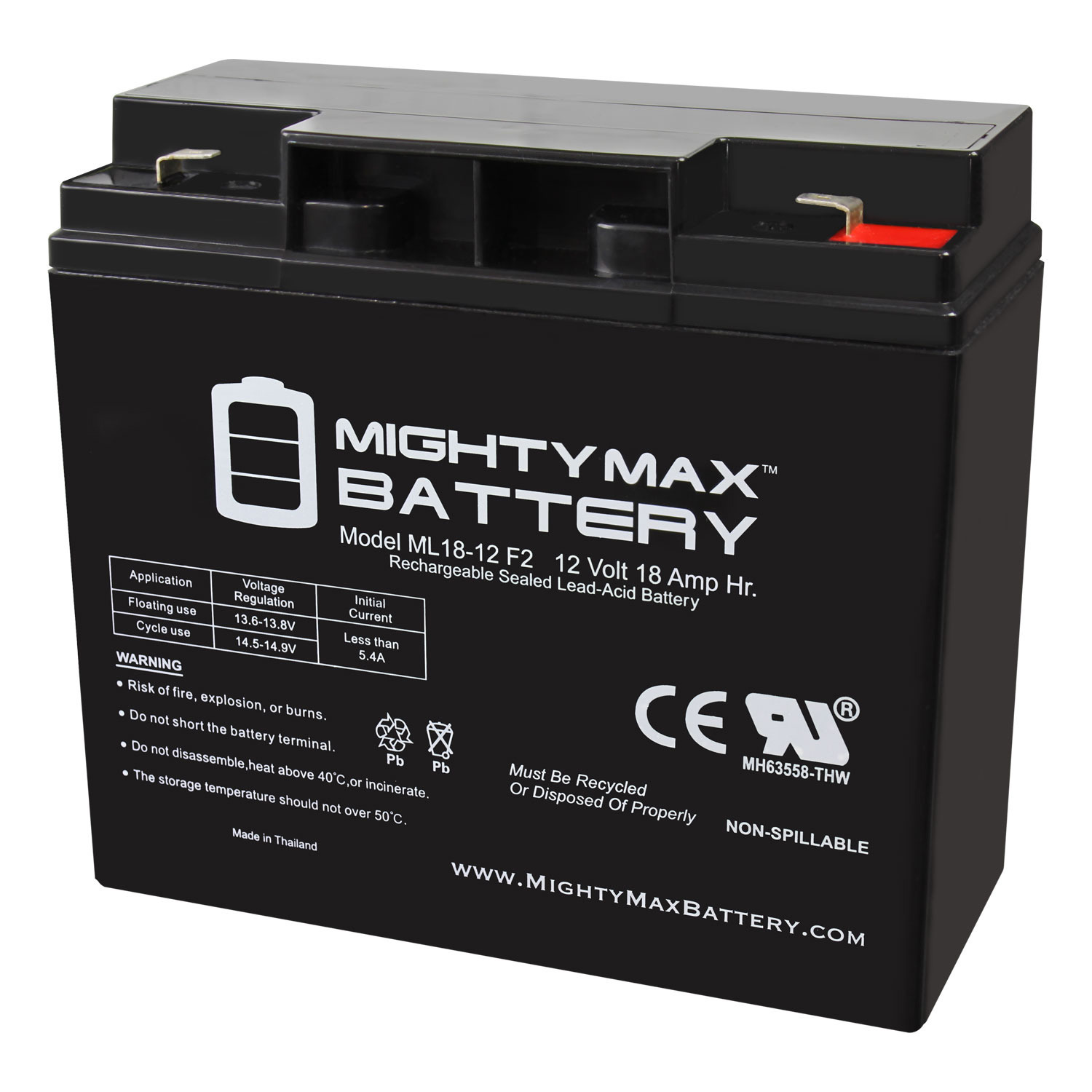 ML18-12 - 12 Volt 18AH F2 SLA Battery