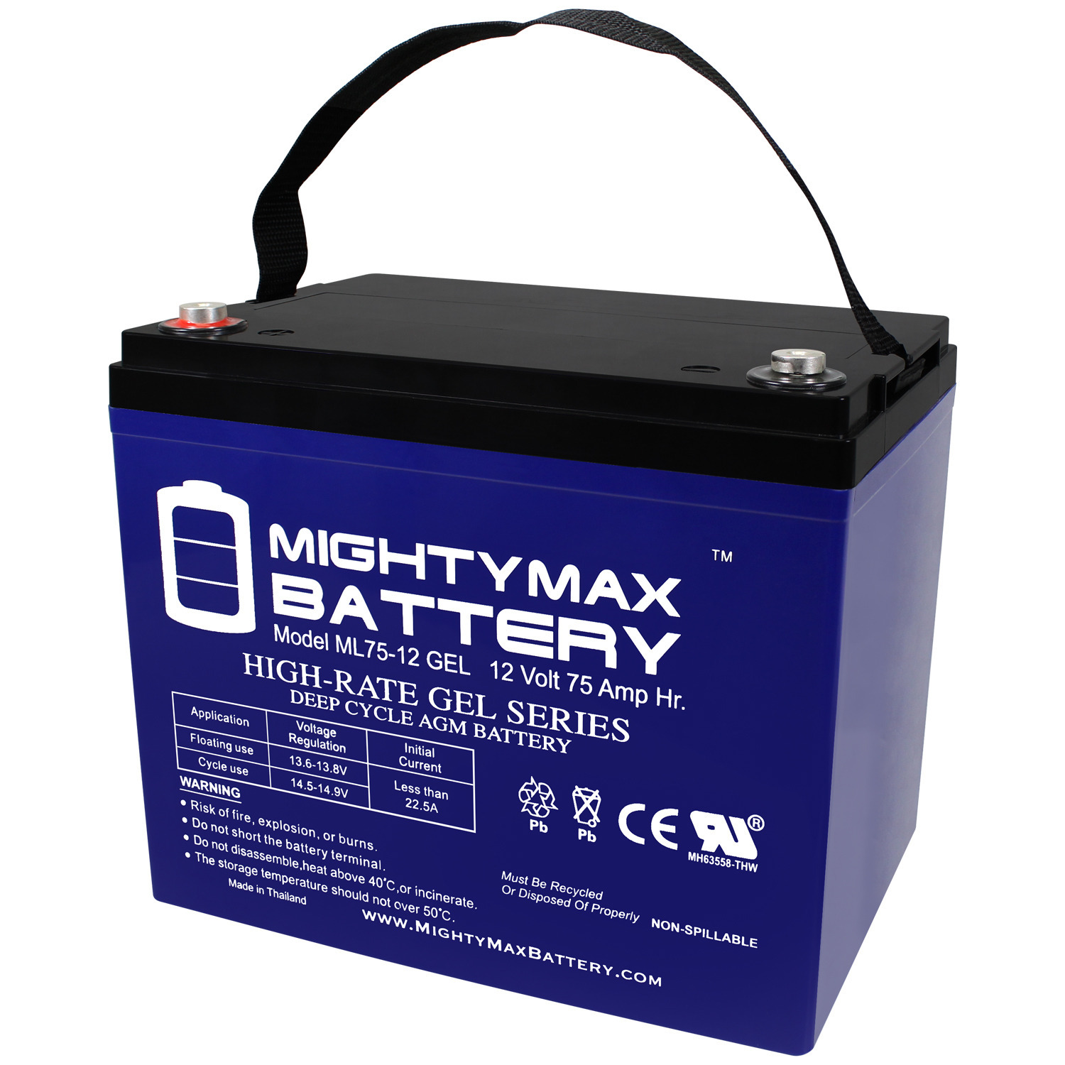 12V 75AH GEL Battery Replacement for CD Dynasty MPS12-75