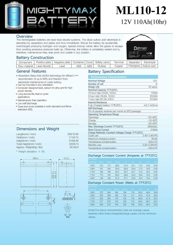 ML110-12 - 12V 110AH  SLA Battery - 4