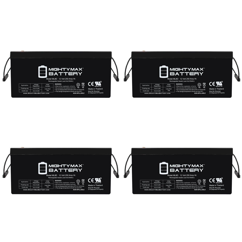 Sealed Lead-Acid Battery - AGM-type, 12V, 250 Amps - 4 Pack