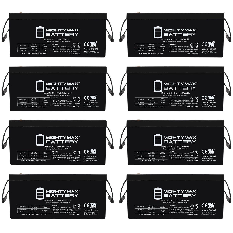 Sealed Lead-Acid Battery - AGM-type, 12V, 250 Amps - 8 Pack